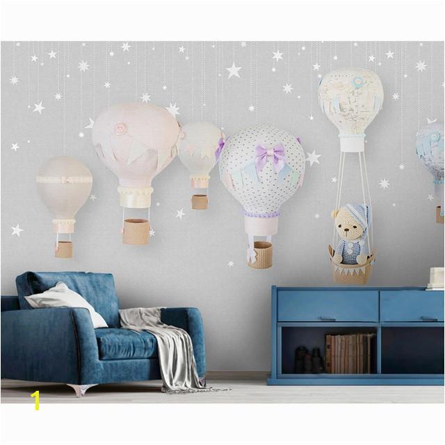 Airplane Wallpaper Murals Children S Room Wall Paper Stickers Cartoon Balloon Wallpaper