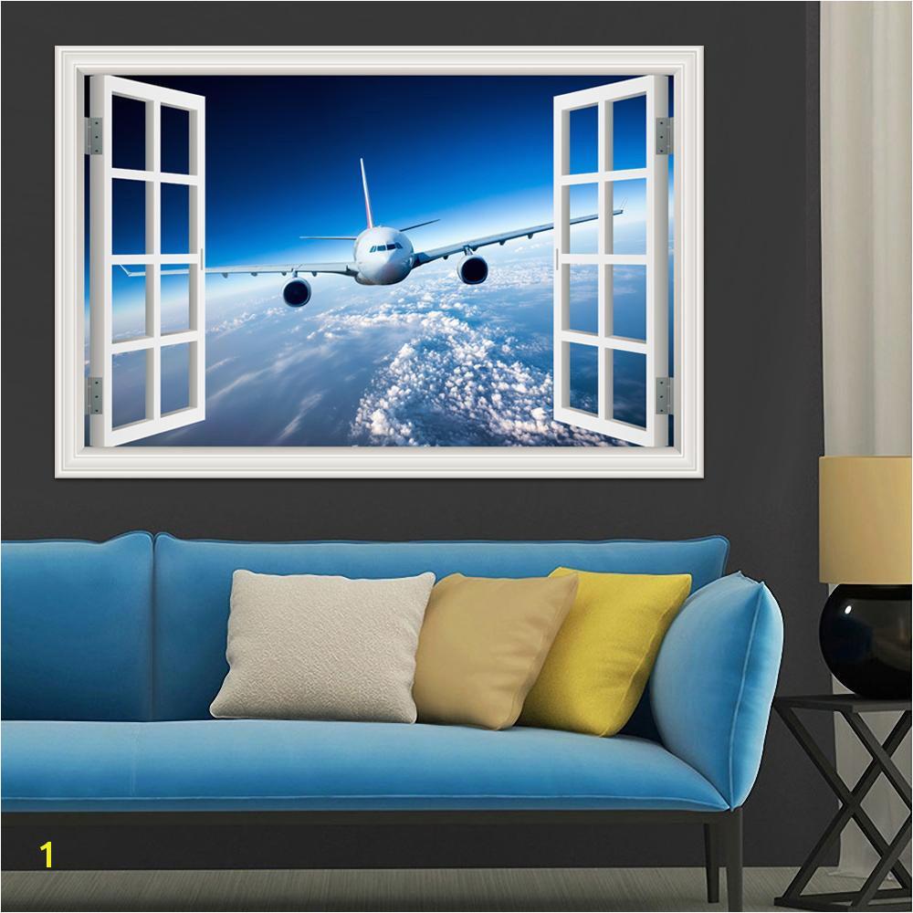 Großhandel 3d Landschaft Tapete Flugzeug Wandaufkleber Aufkleber Vinyl Wandkunst Mural Großes Fenster Ansicht Blauen Himmel Wohnkultur Wohnzimmer Von
