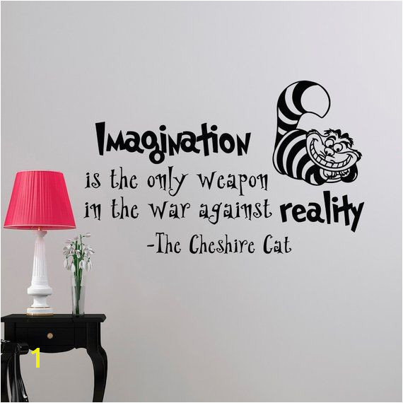 Alice In Wonderland Wall Decal Quote Imagination Is The ly Weapon Cheshire Cat Vinyl Stickers Home
