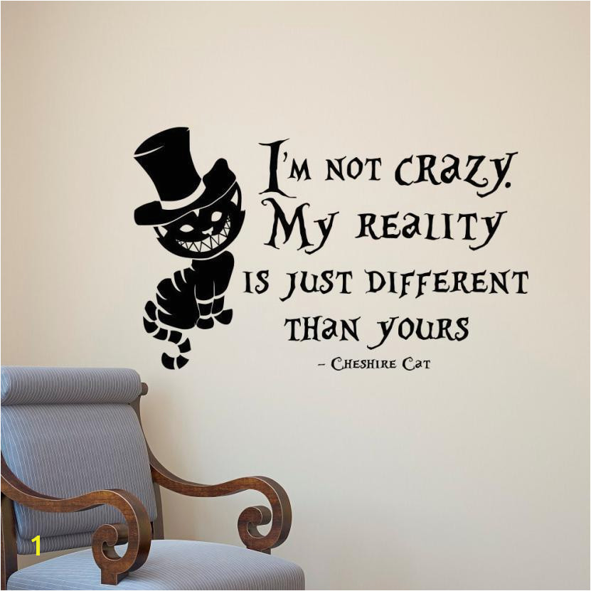 PVC Removable Alice In Wonderland Cheshire Cat Wall Stickers Vinyl Art Wall Decals Mural Home Bedroom Decoration Black 802 Wall Art Decals Wall Art Decals