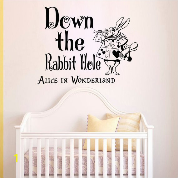 Wall Decals Quotes Alice in Wonderland Down The Rabbit Hole Sayings White Rabbit Wall Decal Murals N