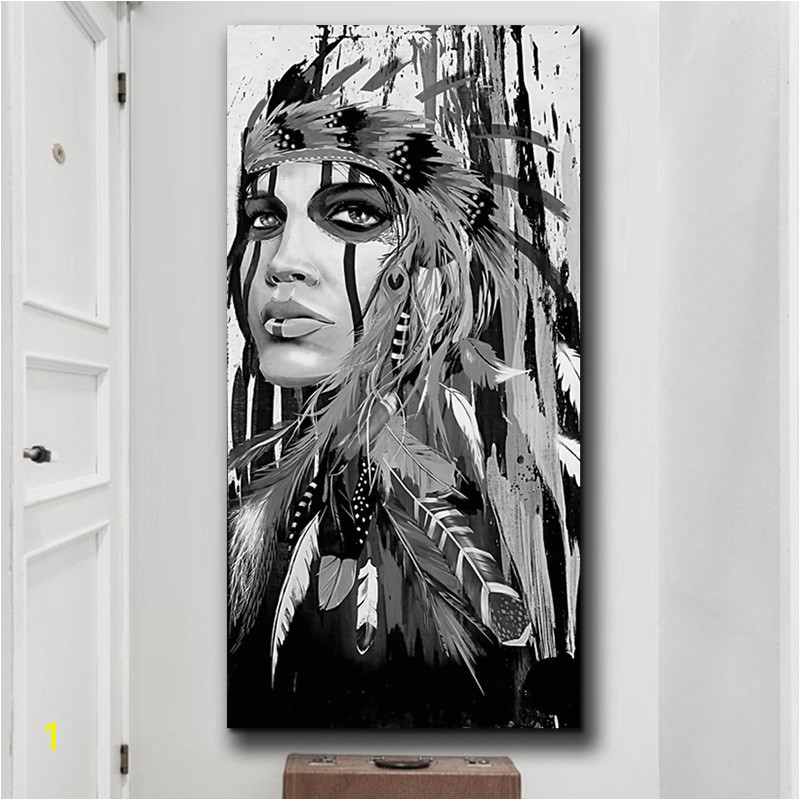 White and Black Native American Indian Girl Feathered Canvas Painting Posters And Prints Nordic Wall Picture for Home Decoration in Painting & Calligraphy