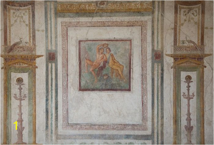 Frescoes In The Ruins Casa Dei Vettii The Old City Pompeii Near Naples Italy Wall Mural
