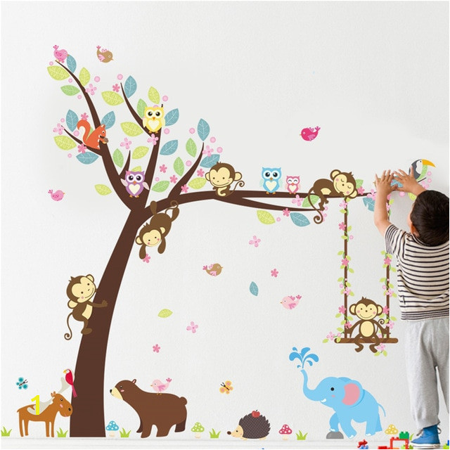Forest Animals Tree wall stickers for kids room Monkey Bear Jungle wild Children Wall Decal Nursery
