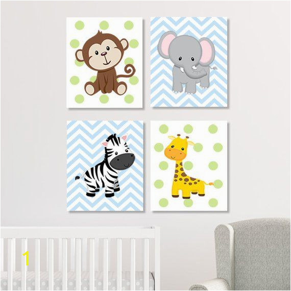 Jungle Nursery Decor Jungle Animals Wall Art Safari Nursery Decor Nursery Prints Canvas Safari Animals Nursery Baby Animals Set of 4