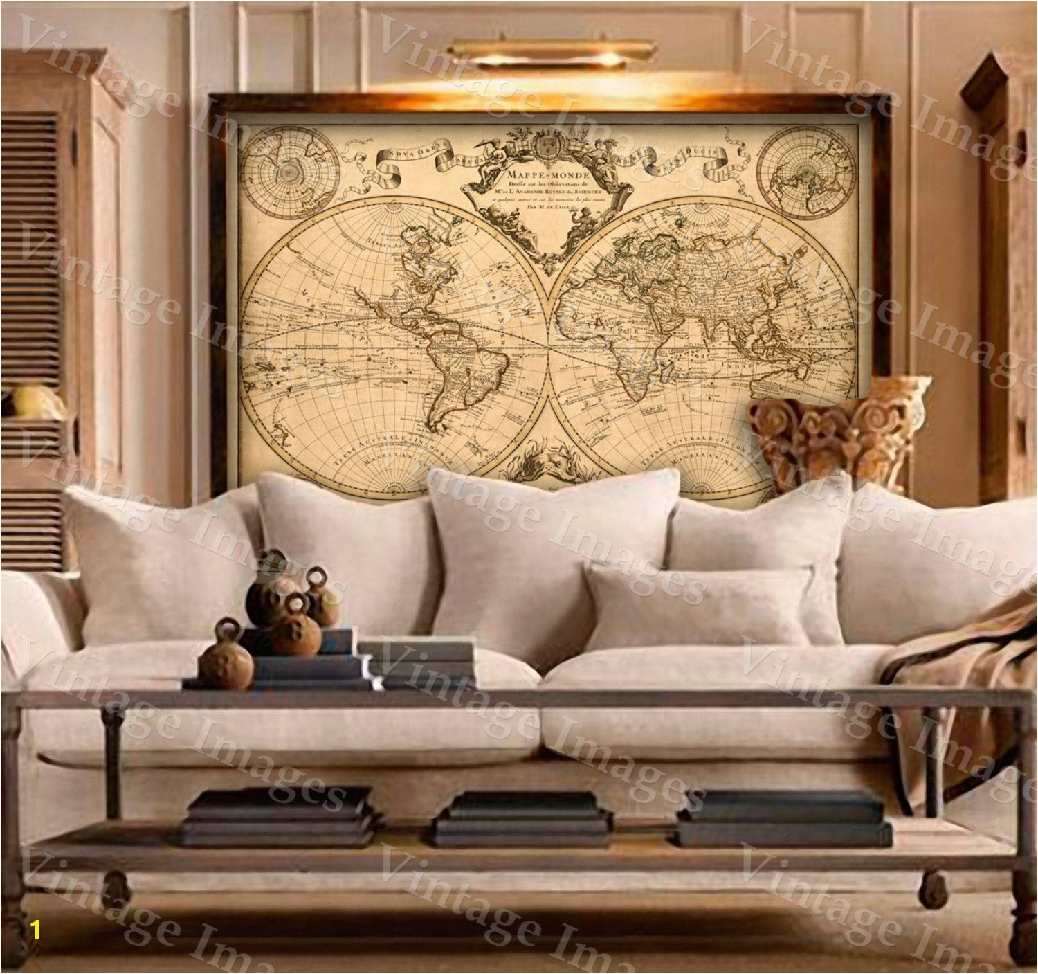 L Isle s 1720 Old World Map Historic Map Antique Restoration Hardware Style World Map Guillaume de L Isle mappe monde Wall Map Home Decor pinned by