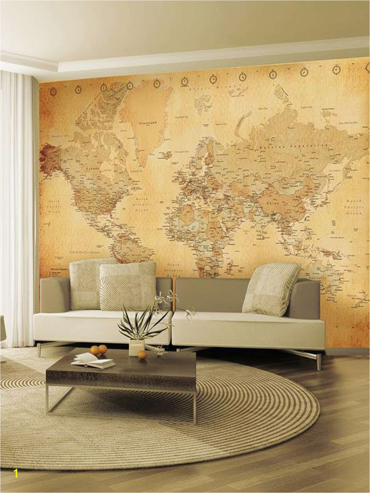 Antique World Map Mural Old Map Giant Easy Hang Wall Mural