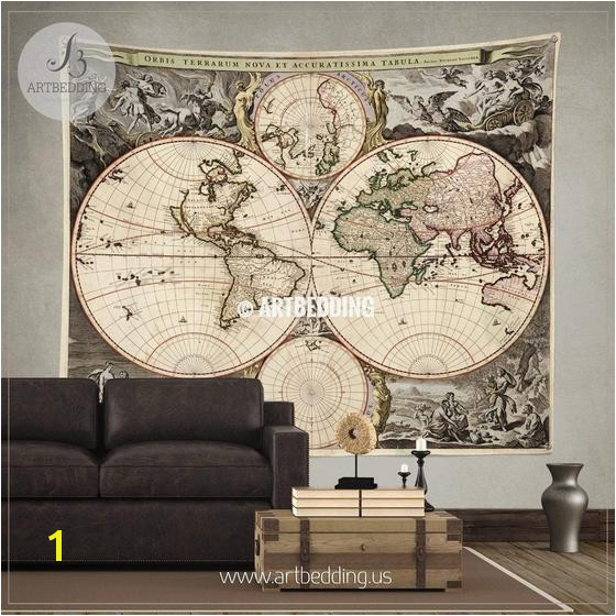 Antique World Map Wall Mural Vintage Map Tapestry Old Map Wall Decor Vintage Wall Decor