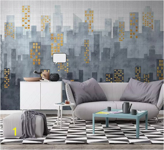 City Wallpaper Modern Simple City Wall Mural Architecture Cityscape Wall Print Living Room Entryway