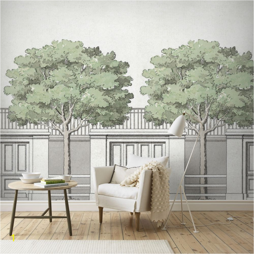 This wallpaper mural design is inspired by an architectural drawing by 18th century Swedish architect Carl