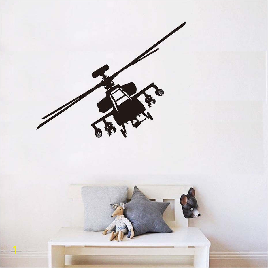 Army Wall Murals Army Helicopter Vinyl Wall Stickers Home Decor Airplane Art for Kids