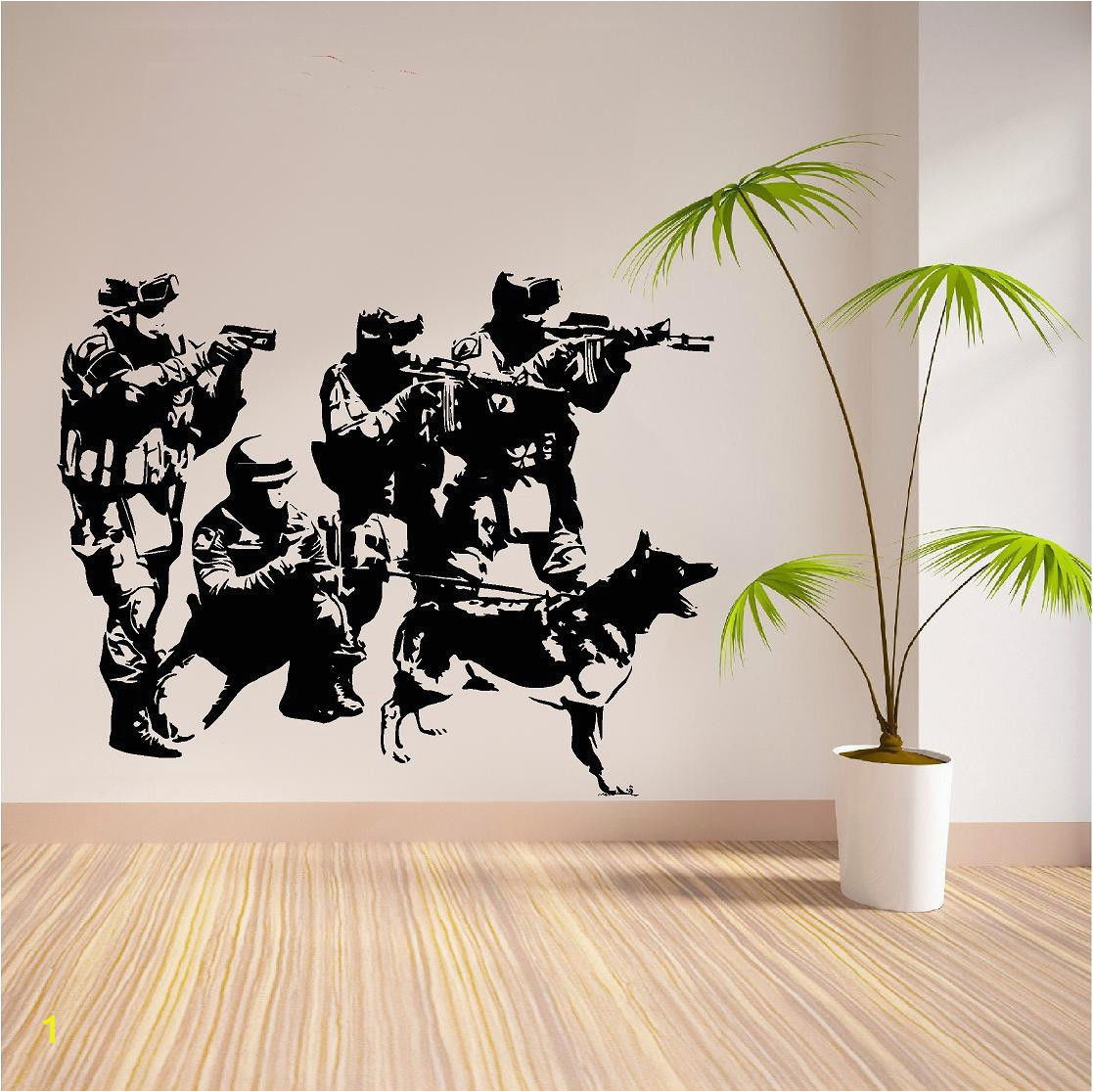 C099 SWAT Team Military Army Sol rs Dogs Removeable Vinyl Wall Sticker for Boys rooms decoration Decal