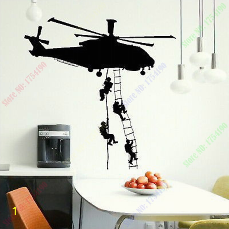 Free Shipping New Helicopter Army Sticker Adhesive Vinly Wall Art For Boys Bedroom Huge Marines Wall Stickers Home Decoration