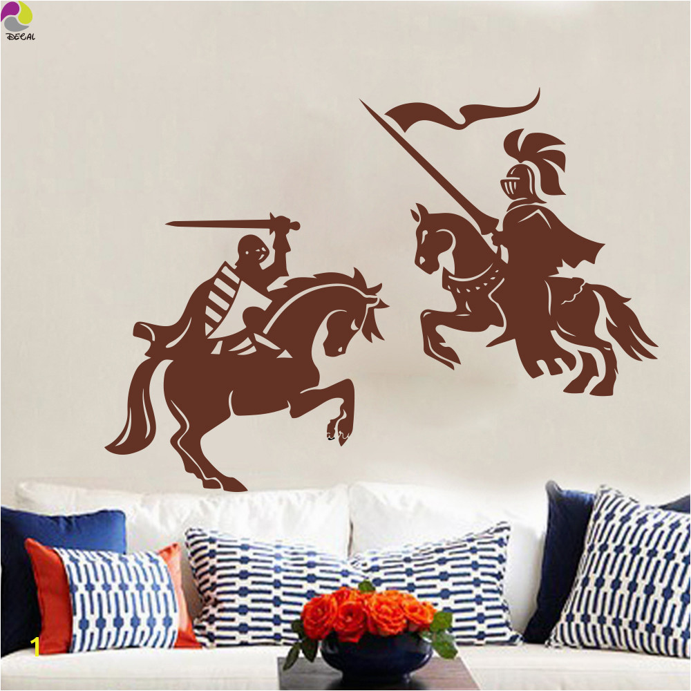 Knight Warrior Wall Sticker Kids Room Living Room Lego Me val Dragon Slayer horse Solider Army Wall