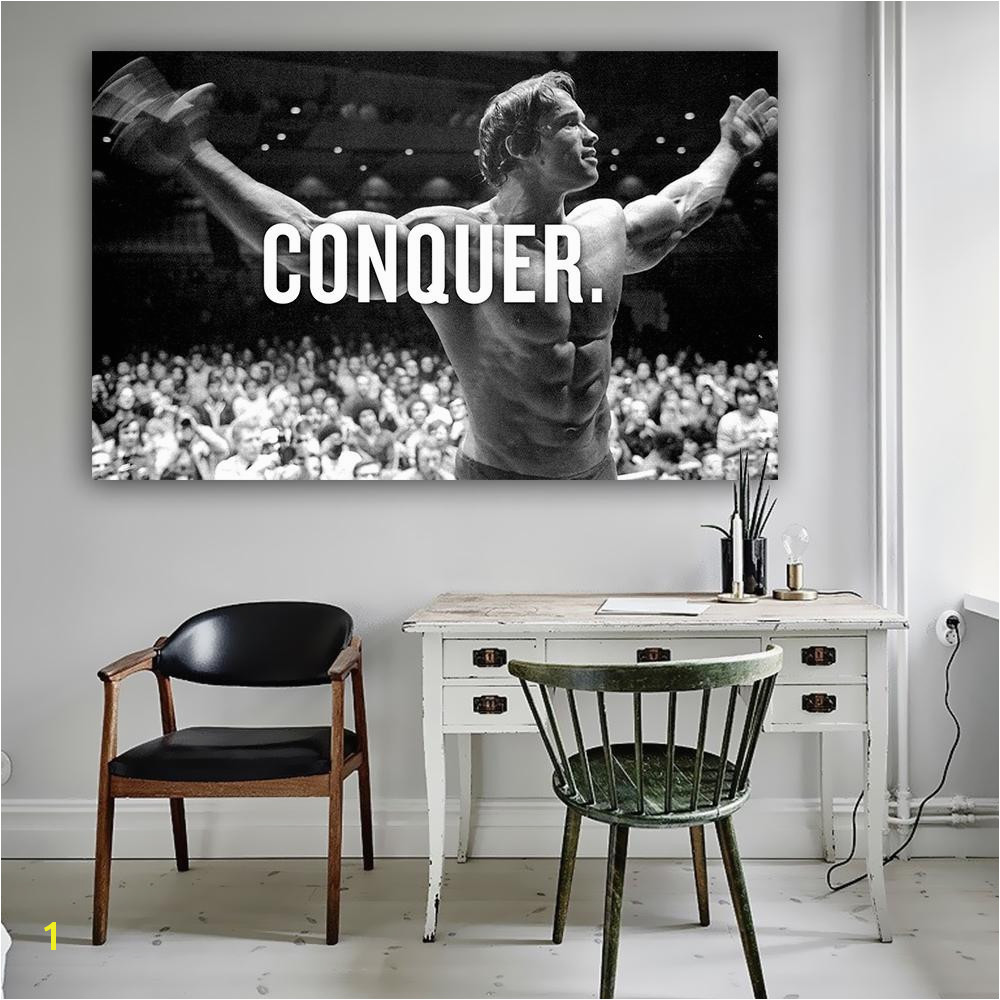 2019 8 3CONQUER Arnold Schwarzenegger Bodybuilding Motivational Quote Art Wall Picture For Living Room From Huweilan $33 43