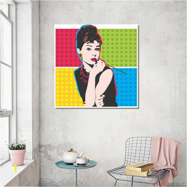 Andy Warhol Vintage Canvas Paintings Print Posters Colorful Audrey Hepburn Oil Painting Wall Art For Living Room Decor