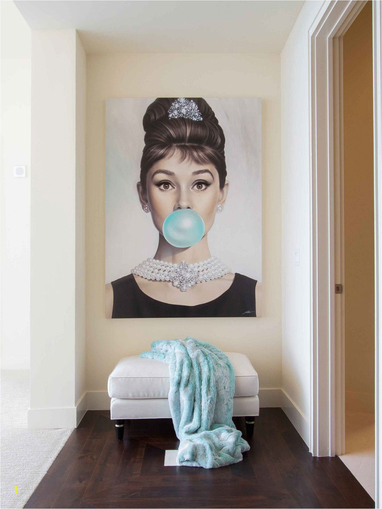 Audrey Hepburn artwork at the end of the hall Brilliance