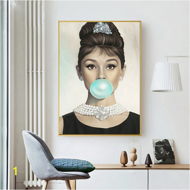 Audrey Hepburn Bubbles Wall Art Canvas Black White Lipstick Leaf Fashion Poster Prints Painting Picture Modern Room Decoration