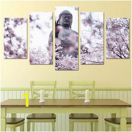 Buddha Wall Murals Australia Free shipping Popular Solemn 5 Panel Buddha Statue Cherry Blossoms Flower