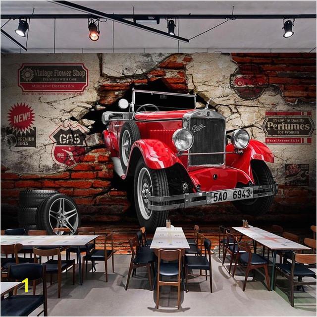 Custom 3D Wall Paper Retro Red Car Wall Murals Restaurant Cafe Bar KTV Living Room