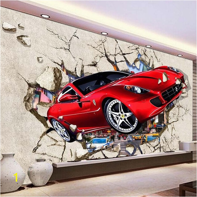 Custom Mural Wallpaper 3D Red Car Broken Wall Wallpaper Cartoon Kids Bedroom Living Room Home