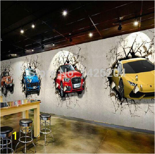 Great Wall Custom 3d Car Broken Wall Mural Wallpaper fice Personality Restaurant And Bar TV Background Wall Murals Hd A Wallpapers Hd Free Wallpaper