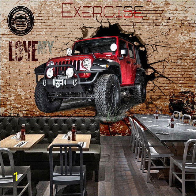 Personalized Customization 3D Stereo Red Car Broken Wall Brick Wallpaper Cafe Restaurant Kids Bedroom Personality 3D Wall Murals