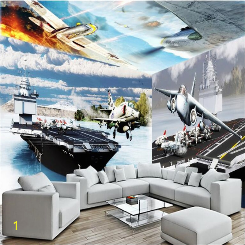 beibehang Fighter aircraft carrier 3d large wall mural HD TV backdrop custom silk photo wall paper 3d wall murals wallpaper roll