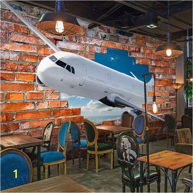 Custom Mural Wallpaper For Walls 3D Stereoscopic Aircraft Breaking Wall Art Wall Painting Red Brick Background Wallpaper