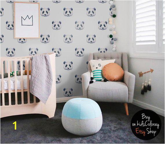 Baby Boy Nursery Murals Panda Wallpaper Watercolor Pastel Pale Wall Mural Kids Room