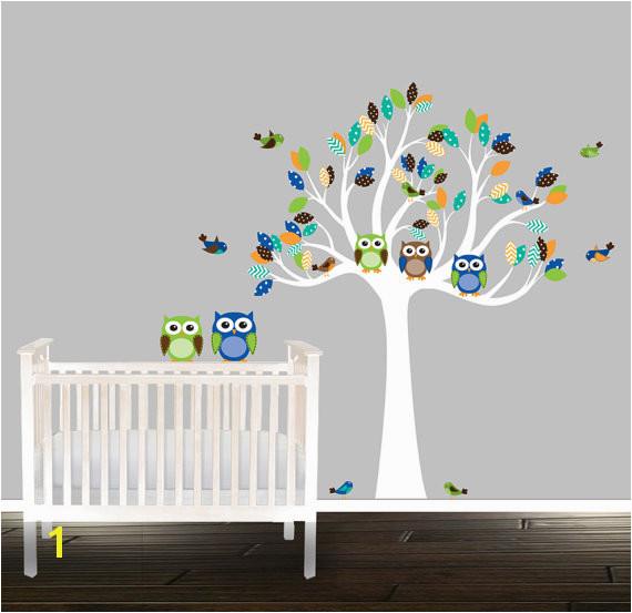 Baby Boy Nursery Wall Murals Baby Boy Nursery Wall Decal Owl Wall Decal Tree by Beautifulwalls