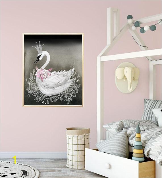 Swan Nursery Decor Print in Black and Pink Baby Girl Nursery Wall Art Swan Princess Baby Room
