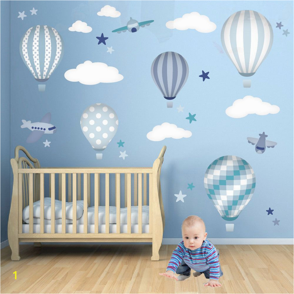 Hot Air Balloon Wall Decals featuring planes white clouds and stars Baby boys wall stickers Blue nursery decor Trending now 2016 74 95 GBP by