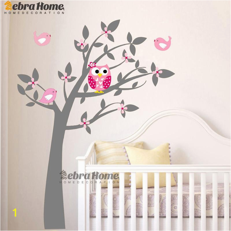 Owl Vinyl Tree Wall Sticker Decals Mural Wallpaper Children Kids Baby Room Nursery Bedroom Sticker New Year Tree Home Decoration Zebra Wall Stickers Kids