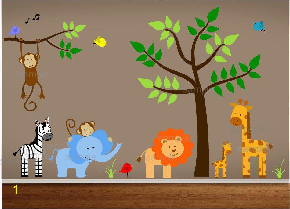 Jungle Wall Decals Tree Zebra Elephant Monkey by paintlessdeco $199 99