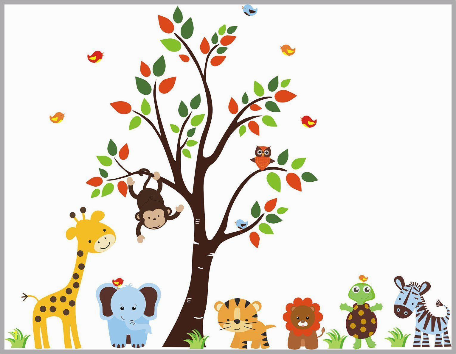 """Nursery Wall Decals Jungle Wall Decals Zoo Animal Decals Tree Wall Decal Animal Stickers Turtle Lion Decals 83"""" x 156"""""""