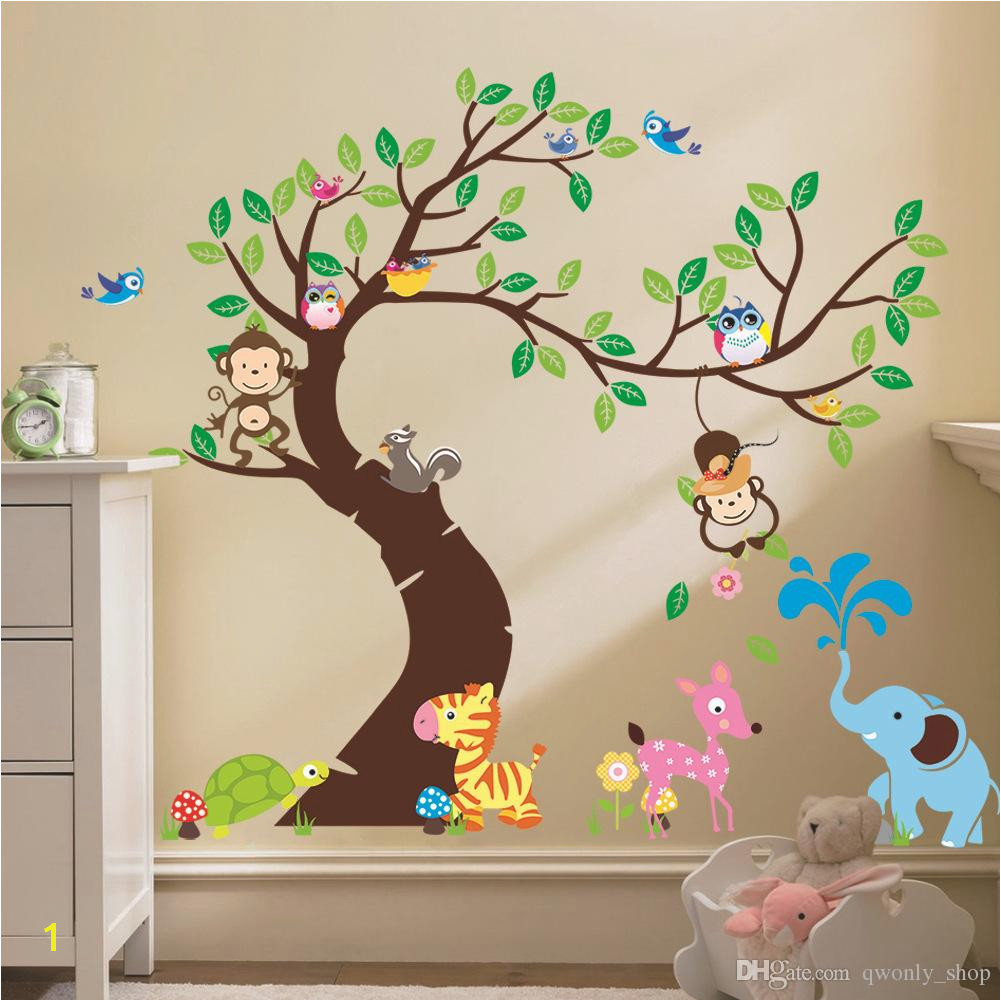 Oversize Jungle Animals Tree Monkey Owl Removable Wall Decal Stickers Muraux Nursery Room Decor Wall Stickers For Kids Rooms Childrens Wall Decals Childrens