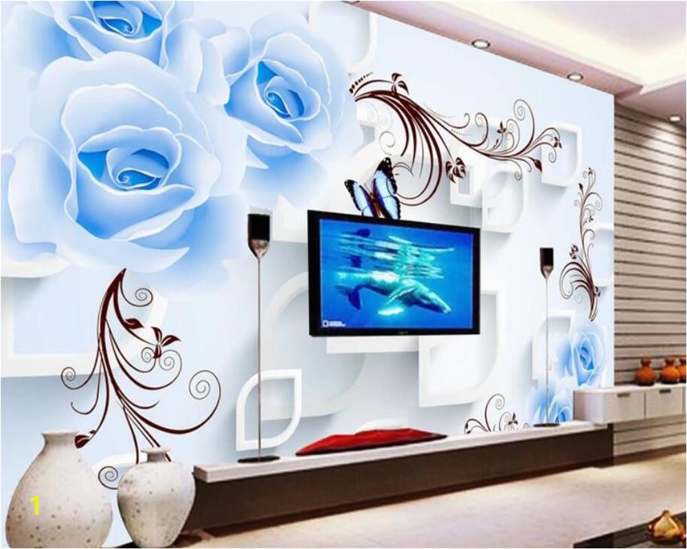 Beibehang Custom 3d wallpaper blue rose vine landscape art mural living bedroom corridor children room photo wallpaper mural
