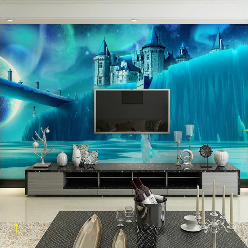 Children s Room Wall Papers 3D Cartoon Ice Castle Wallpaper Murals Living Room Bedroom Self Adhesive Vinyl Silk Wallpaper
