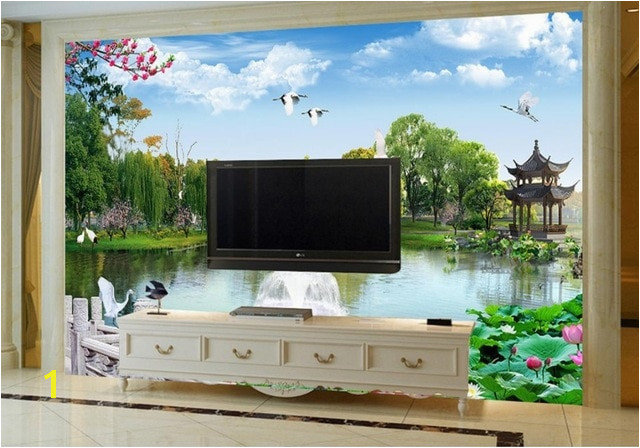 Wall Mural Green garden Chinese Wallpaper Murals Landscape Lotus Landscape TV Background Wall