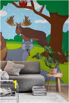 Woodland Friends in Forest wall mural from happywall illustration moose wallpaper bird