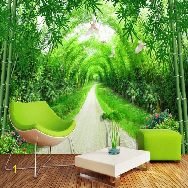 Custom Any Size Mural Wallpaper 3D Stereo Fresh Green Bamboo Forest Path Wall Murals Spatial Extension Papel De Parede 3 D