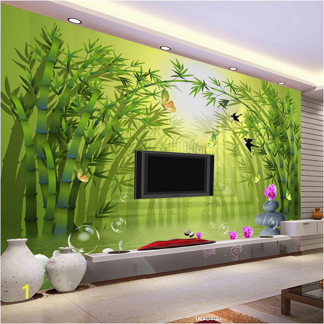 Custom Mural Wallpaper Roll 3D Stereoscopic Green Bamboo Forest TV Background Wall Painting Non woven Straw Textured Wallpaper