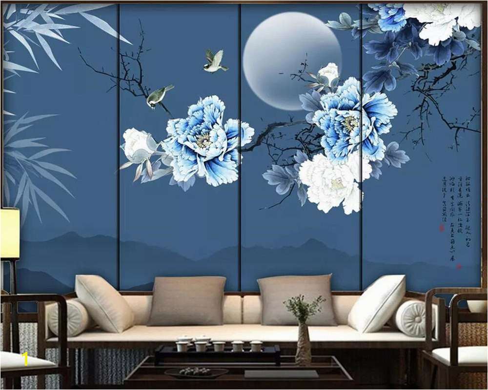 Beibehang wallpaper mural Chinese style bamboo leaves peony flowers and birds TV background wall decoration mural 3d wallpaper