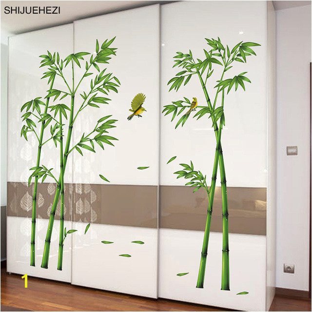 [SHIJUEHEZI] Green Bamboo Plant Birds Pastoral Style Wall Sticker for Study Room Living Room Wardrobe Decoration Mural Decals