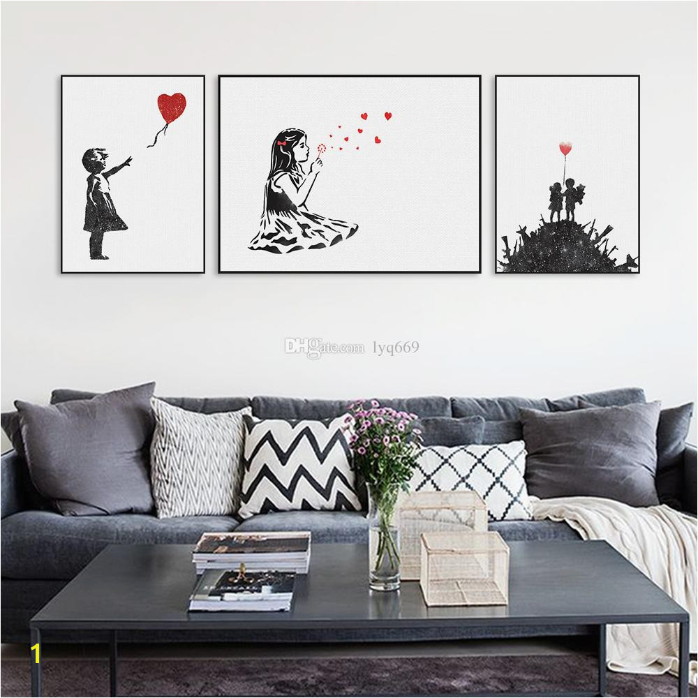 2019 Modern Black White Banksy Poster Print A4 Urban Graffiti Wall Art Picture Hipster Home Decor Girl Peace Canvas Painting No Frame From Lyq669