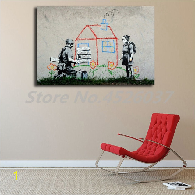 Banksy Graffiti Street Kid House Peace Canvas Posters Prints Wall Art Painting Decorative Picture Modern Home Decoration Artwork
