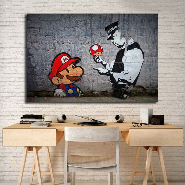 Banksy Super Mario Wallpaper HD Wall Art Canvas Posters Prints Painting Wall For fice Living Room Home Decor Artwork