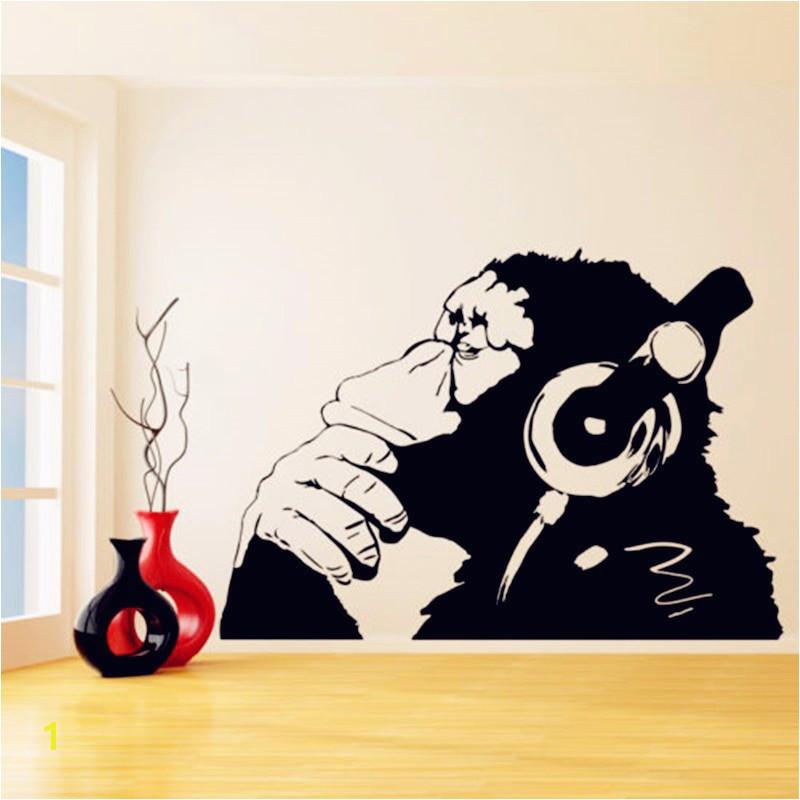 Banksy Wall Murals Banksy Vinyl Wandtattoo Affe Mit Kopfhörer Banksy Stil Wandkunst