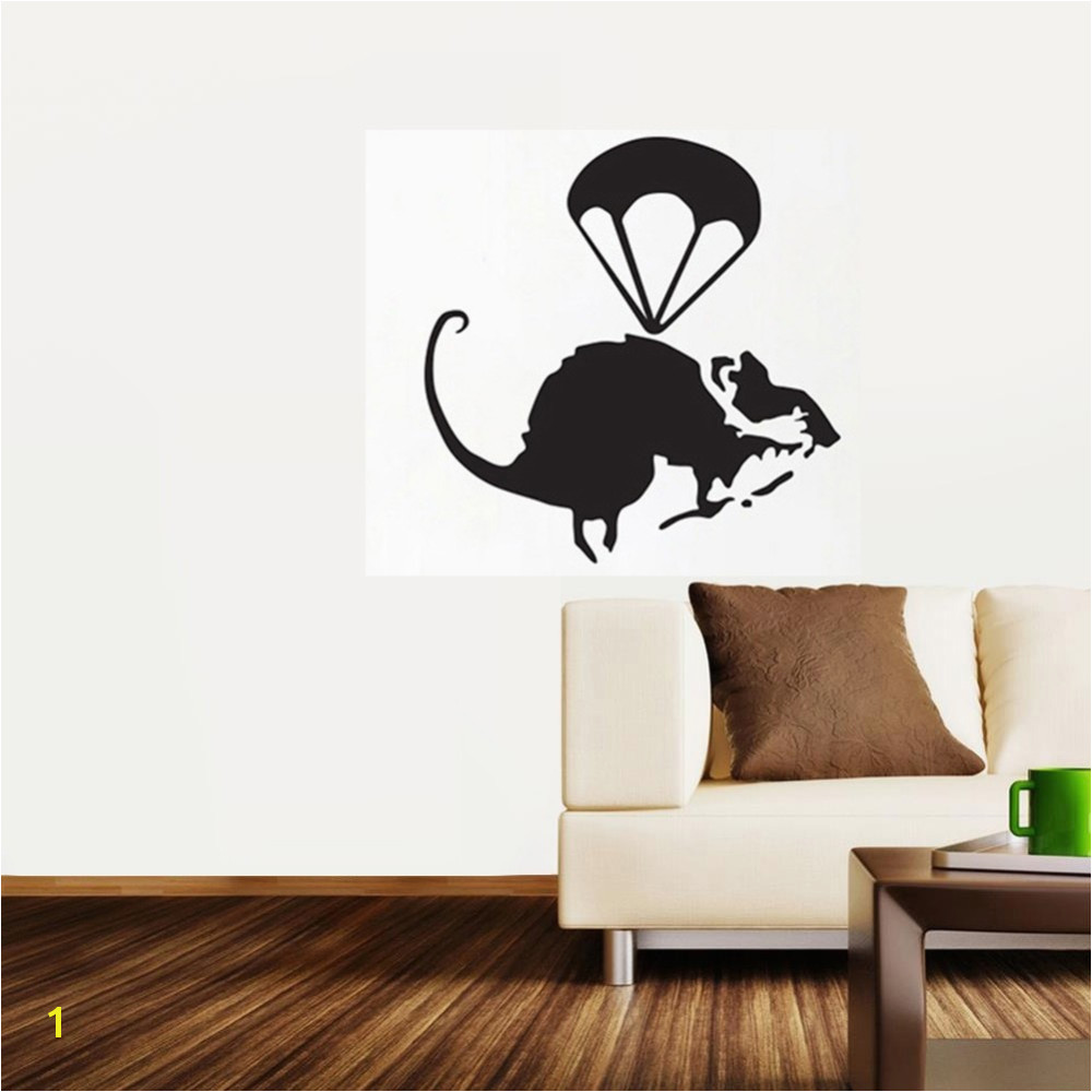 Helicopter Rat Banksy Wall Stickers mural wallpaper wall art 45 46CM